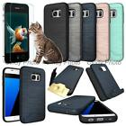 For Samsung Galaxy S7 Edge G9350 Glass Film Card Armor Brushed Cover Case