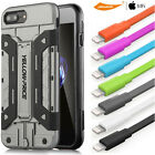 Luxury Hybrid Card Slot Stand Case&9H Glass Screen&USB Data Cable iPhone 7 6S 5C