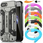 Shockproof Hard Wallet Case Cover&Glass Screen Film&Lightning Cable iPhone 7 6 5