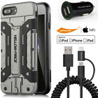 2 in 1 Micro USB+Lightning Cable 9H Glass Film Armor Case iPhone 7/6S Plus 5 SE
