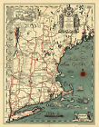 1928 Pictorial Map New England Historical Genealogy Family Wall Art Poster Decor