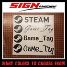 Steam Gamertag Decal / Sticker customizable your username game tag gamer