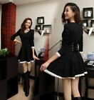Women's Vintage Long Bubble Sleeve Lace Dress Falbala Fitted Casual Party Skirt