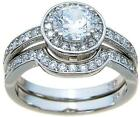 TOP QUALITY 2.50 CT HALO CUBIC ZIRCONIA MATCHING WEDDING BAND RING SET
