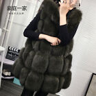 Real Whole Fox Fur Vest Gilet With Hat Geunine Fashion Waistcoat Jacket Women's