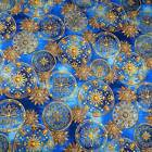 Celestial, Stars, Metallic Gold on Blue, Cotton by Hoffman