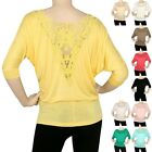 IRON PUPPY Women Dolman Lace BoatNeck Half Sleeve Top Blouse BatWing Knit Shirts
