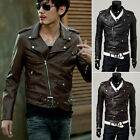 Men's Classic Biker Motorcycle Motorbike Jacket Black Outerwear Coat Zipper HOT