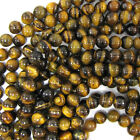 "Tiger Eye Round Beads Gemstone 15.5"" Strand 4mm 6mm 8mm 10mm 12mm"