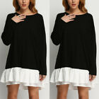 Women Fashion Casual Loose Black Long Sleeve Tops T-shirt Blouse Short Dress