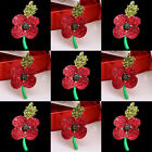 New Red Poppy Remembrance Brooch Pin Wholesale Crystal Flower Jewelry Badge Xmas
