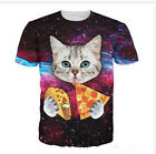 Big Size Men 3D T-Shirt Casual Tee Short Sleeve Eating Pizza Cat Round Collar