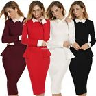 WomenLong Sleeve Doll Collar High Waist  Sexy   Dress N98B
