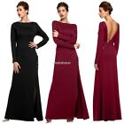 Women Party O-Neck Sexy Side Slit Maxi Solid Backless Dress N98B