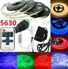 5630 SMD Flexible Rope LED Strip Lights Tape Ribbon Lamps Power Supply IR Remote