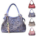 Womens PU Leather Hollow Out Handbag Ladies Party Purses Tote Bag Tassel Pendant