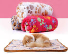 UK Stock Pet Dog Puppy Cat Paw Print Fleece Warm Soft Blanket Beds Mat Large SL
