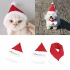 Pet Dog Cat Santa Hat Scarf Christmas Xmas Red Holiday Costume Apparel Lovely