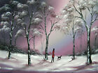 SARAH FEATHERSTONE ORIGINAL SIGNED CANVAS OIL PAINTING, Evening Walk In Winter