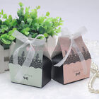 24/120 PCS Sweet Love Favor Box with Black Lace Pattern Wedding Party Decor New