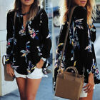 Summer Boho Women Chiffon Long Sleeve Floral Print Casual Beach Shirt Blouse Top