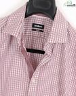 Strellson Dk Red/White Plaid Slim Fit Spread Collar Dress Shirt Sz Euro 43/US 17