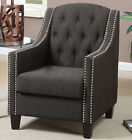 NEW EDEN TRANSITIONAL ASH BLACK or BEIGE BUTTON TUFTED FABRIC ACCENT CHAIR