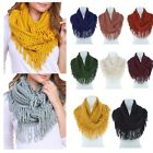 Loop Design Knit Infinity Scarf With Long Fringe Td
