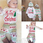 Cute Newborn Baby Boy Girls First Christmas Clothes Romper Pants Hat Outfit 4PCS