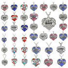 Crystal Heart Charm Pendant Necklace Chain Women Men Xmas Jewelry Best Friends