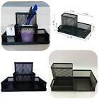 Black Metal Mesh Pen Pencil Box Holder Office Desktop Organizer Stationery Case