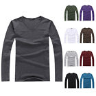 Mens Autumn Slim Fit Cotton V-Neck Long Sleeve Casual T-Shirt Top Basic Tee New