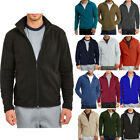 Mens Polar Fleece Long Sleeve Full Zipper Zip Up Jacket Winter Turtleneck