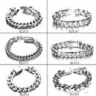 15-18MM Mens Womens Stainless Steel Silver Curb Cuban Link Hip Hop Chain Jewelry