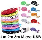 Strong Braided Flat Micro USB Data Charging Cable for Samsung Galaxy S4 S5 S6