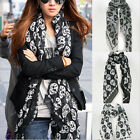 Women Ladies Classic Skull Print Long Scarf New Fashion Voile Wrap Shawl