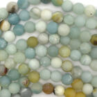 "Matte Amazonite Round Beads Gemstone 15"" Strand 4mm 6mm 8mm 10mm 12mm"