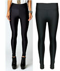 LADIES GIRLS SHINY DISCO LEGGINGS HIGH WAIST BLACK DANCE TROUSER CLUBWEAR PANTS