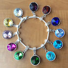Birthstone Crystal Dangling Silver Pendant Bead Charm Bangle Bracelet Gift Box