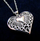 925 Sterling Silver Heart in Heart Fountain Pendant Necklace Chain Gift Box