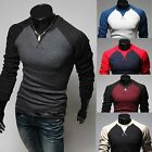 New Men\'s Fashion Casual Slim Fit Crew-neck Long Sleeve Tops Tee T-shirt
