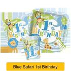 BLUE SAFARI 1ST BIRTHDAY - First Birthday PARTY RANGE (Decorations & Tableware)