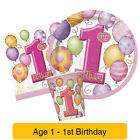 1st BIRTHDAY BALLOONS PINK PARTY ITEMS (First/Girl)Age 1 Tableware & Decorations