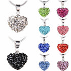 Fashion Women Jewelry Silver Plated Chain Crystal Heart Pendant Choker Necklace