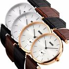 Casual Luxury Mens Womens Couple Watch Leather Band Quartz Watch