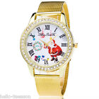 Women Men Santa Claus Quartz Dial Antlog Steel Belt Wristwatch Christmas Gift