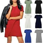 Womens Ladies Cap Sleeve Wrap Over Shift Dress Top Crew Neck Midi Mini Plain