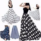 Women Chiffon Polka Dot Print Summer Skirt Boho High Waist Beach Long Maxi Dress