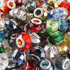 Facet Crystal Glass Round Rondelle Silver Big Hole Spacer European Charm Beads