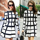 Fashion Womens Autumn/Winter Party Cocktail Casual Skater Mini Dress Long Sleeve